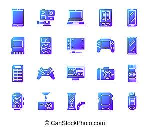 ensemble, icônes, simple, gradient, vecteur, appareil