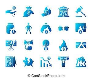 ensemble, icônes, simple, gradient, vecteur, faillite