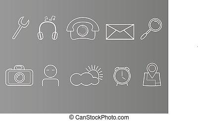 ensemble, icônes, simple, gris, fond, téléphone, blanc, intelligent