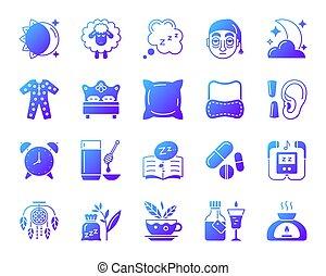 ensemble, icônes, simple, insomnie, gradient, vecteur