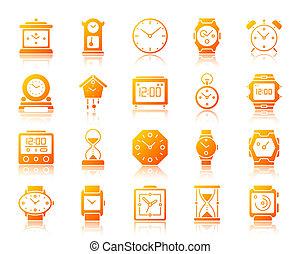 ensemble, icônes, simple, montre, gradient, vecteur