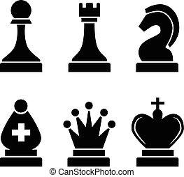 ensemble, icônes, simple, noir, échecs, blanc