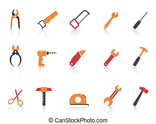 ensemble, icônes, simple, outillage, main, orange couleur