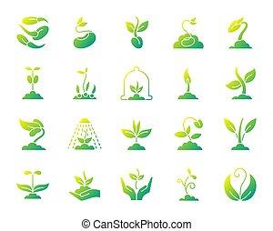 ensemble, icônes, simple, pousse, gradient, vecteur