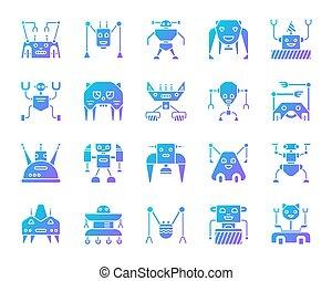 ensemble, icônes, simple, robot, gradient, vecteur