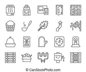 ensemble, icônes, simple, sauna, équipement, vecteur, noir, ligne