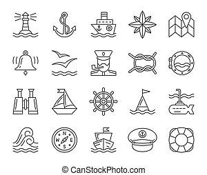 ensemble, icônes, simple, vecteur, noir, ligne, marin
