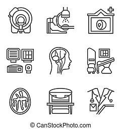 ensemble, icônes, simple, vecteur, noir, mri, ligne