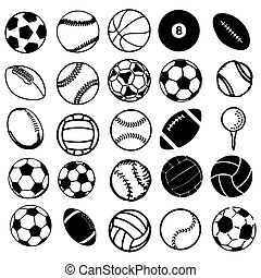 ensemble, icônes, sports, symboles, balle, comique