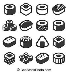 ensemble, icônes, sushi, arrière-plan., vecteur, blanc