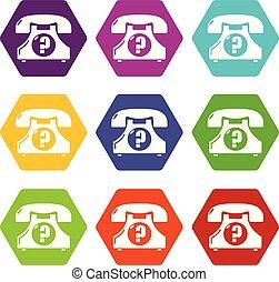ensemble, icônes, téléphone, vecteur, retro, 9