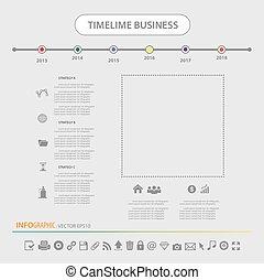 ensemble, icônes, temps, conception, gabarit, infographics, ligne