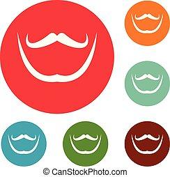 ensemble, icônes, vecteur, cercle, moustache, barbe
