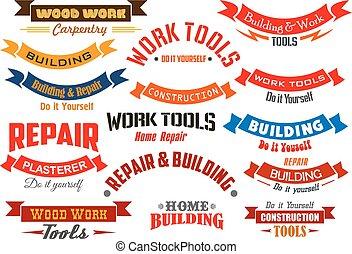 ensemble, icônes, vecteur, construction, réparation, charpenterie
