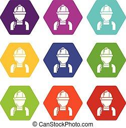 ensemble, icônes, vecteur, mécanicien, 9, homme