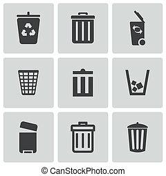 ensemble, icônes, vecteur, noir, boîte, déchets ménagers