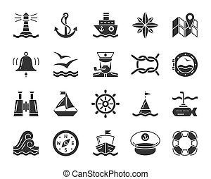 ensemble, icônes, vecteur, noir, nautique, marin, glyph