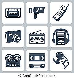 ensemble, icônes, vecteur, retro, #2, technologie