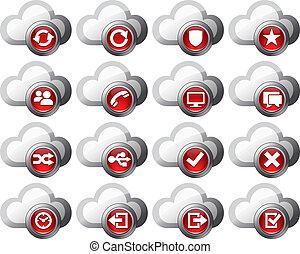 ensemble, icônes, -, virtuel, 2, nuage, rouges