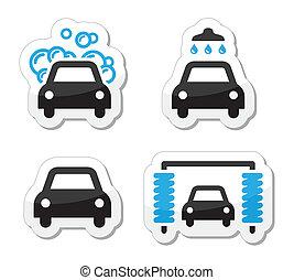 ensemble, icônes, voiture, -, laver, vecteur