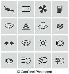 ensemble, icônes, voiture, vecteur, tableau bord, balck