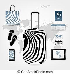 ensemble, icônes, voyage, conception, valise, ton