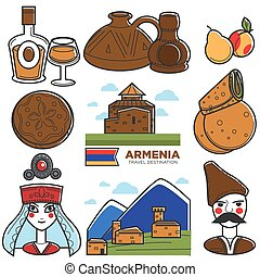 ensemble, icônes, voyage, symboles, célèbre, vecteur, arménien, arménie, tourisme, repères