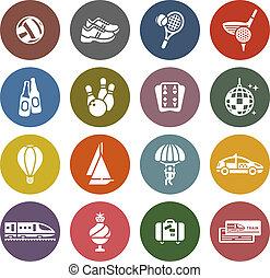 ensemble, &, icônes, voyage vacances, récréation