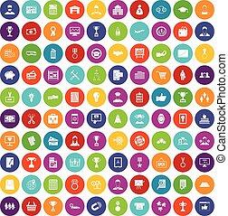 ensemble, icones affaires, carrière, couleur, 100
