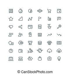 ensemble, icones affaires, carrière, stratégie, vecteur, ligne, gestion