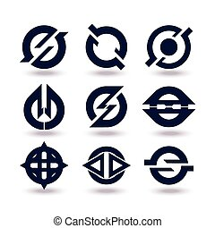 ensemble, icones affaires, editable, isolé, graphisme, fond, blanc, logo., ton, design.