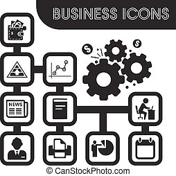 ensemble, icones affaires