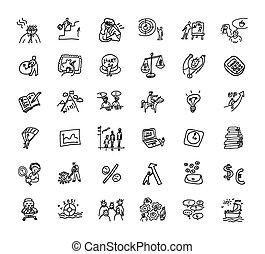 ensemble, icones affaires, noir, doodles, blanc