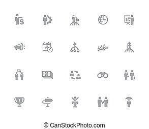 //, ensemble, icones affaires, série, 32px, concepts, blanc