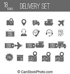 ensemble, icons., livraison, vecteur, noir, illustration