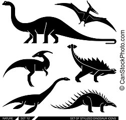ensemble, icons., stylisé, dinosaure, vecteur, géométriquement