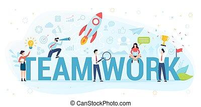ensemble., idée, vecteur, concept, illustration., fonctionnement, collaboration