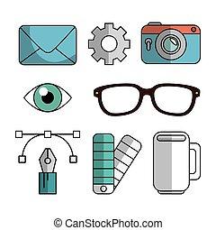 ensemble, idées, éléments, créatif