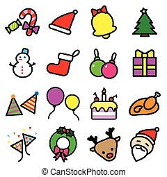 ensemble, illustrateur, coloré, icônes, isolé, collection, graphisme, fond, noël blanc