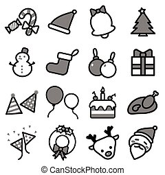 ensemble, illustrateur, icônes, simple, isolé, collection, noël, graphisme, fond, ligne blanche