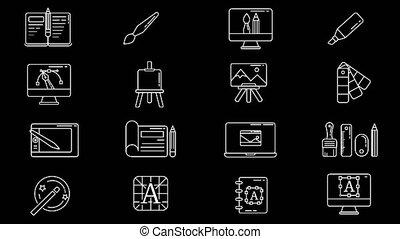 ensemble, illustrateur, lieu travail, concepteur, icône