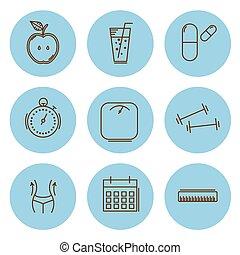 ensemble, illustration, amaigrissement, vecteur, icons., fitness, santé