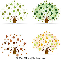 ensemble, illustration., arbre, bodhi, fig), vecteur, (sacred