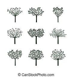 ensemble, illustration., arbres, leafs., vecteur, vert