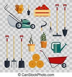 ensemble, illustration., arrière-plan., ferme, instruments, collection, équipement, flat-vector, agriculture, outils, transparent, jardin, icône