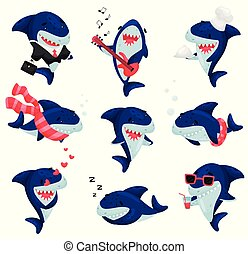 ensemble, illustration, arrière-plan., vecteur, blanc, sharks., dessin animé