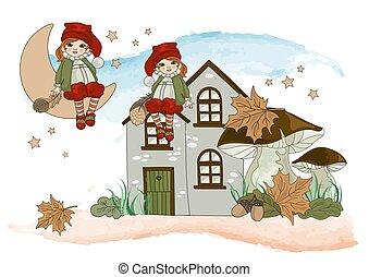 ensemble, illustration, automne, vecteur, lutin, dessin animé