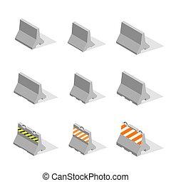ensemble, illustration., barrières, béton, vecteur, fer, 3d...
