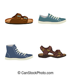 ensemble, illustration., bitmap, conception, chaussures, pied, icon., chaussure, stockage