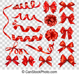 ensemble, illustration., cadeau, grand, arcs, vecteur, ribbons., rouges